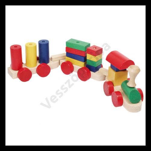 Fa vonat - színes építőkockákkal