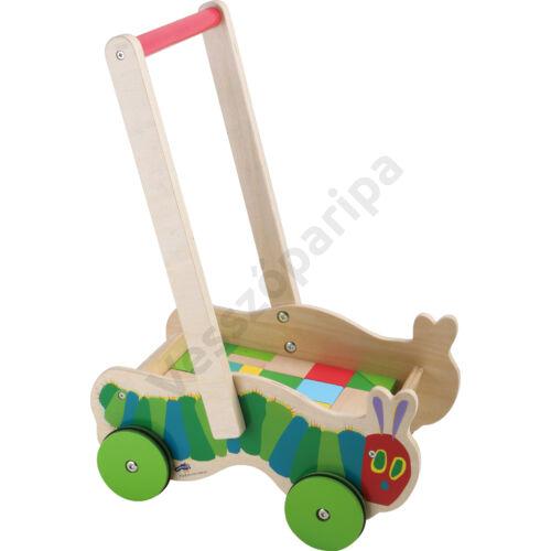 Kukacos fa járássegítő kiskocsi építőkockával