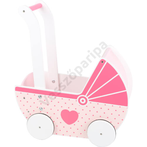 Rózsaszín fa babakocsi és járássegítő egyben