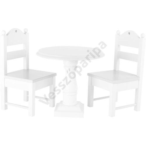 Játék baba asztal és székek - fehér
