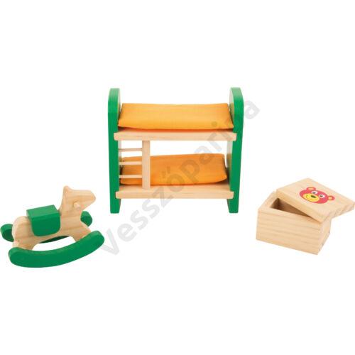 Zöld fa babaház gyerekszoba bútor