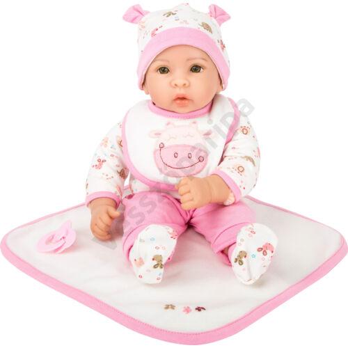 Élethű játék baba - Hanna - rózsaszín kiegészítőkkel