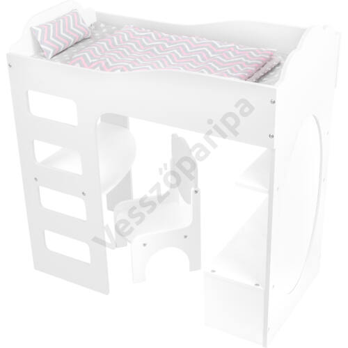 Fehér babaágy íróasztallal és székkel
