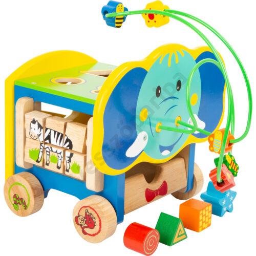 Készségfejlesztő kiskocsi - elefánt