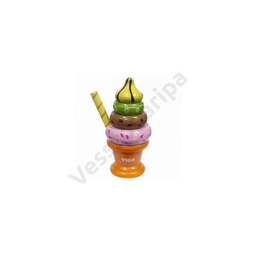 Fagyi kehely narancs színű pohárban - montesszori játék