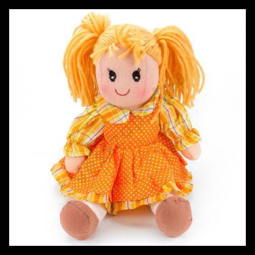 Rongybaba - lány, narancssárga kötényes
