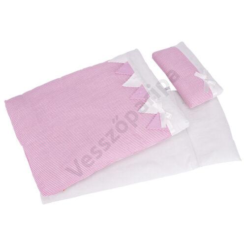 Játék baba ágynemű - rózsaszín csipkés