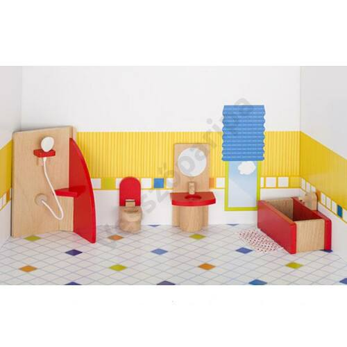 Fa babaház bútor piros fürdőszoba - goki