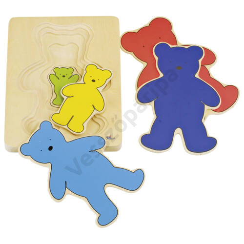Emeletes puzzle - színes macik, goki