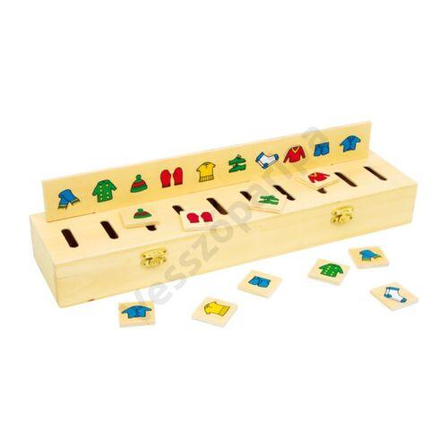 Szortírozó doboz fából - számok, formák, színek