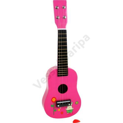 Rózsaszín fa játék gitár