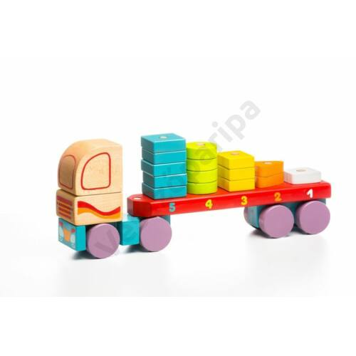 Színes kamion számtoronnyal - fajáték