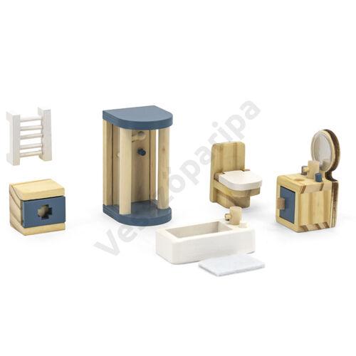 Babaház bútor - fürdőszoba, kék-fehér