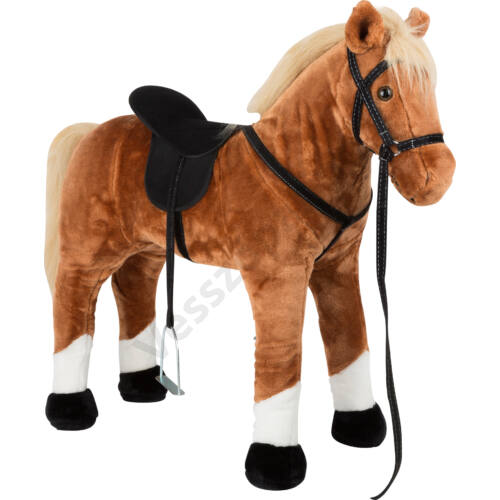 Óriás plüss ló, barna, nyerít és ráülhető