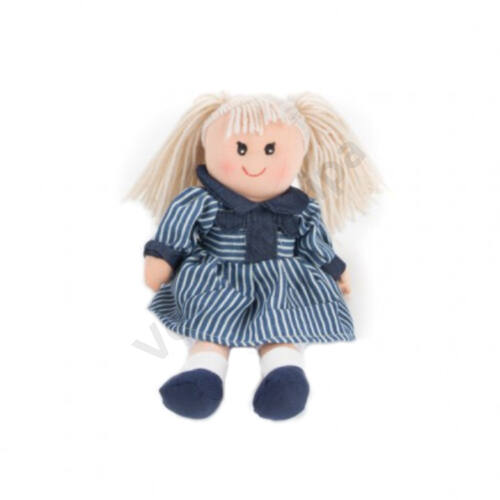 Rongybaba - lány, szőke haj, kék csíkos kis ruha