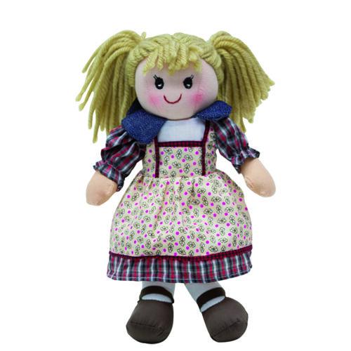 Rongybaba - lány, szőke haj, kockás-mintás kis ruha