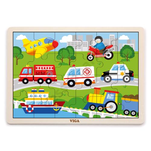 Fa puzzle - városi járművek - 24 részes kirakó